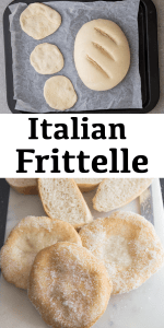 These easy Frittelle are made with a simple Italian bread dough. Fried until golden then sprinkled with a generous amount of sugar. #frittelle #Italianrecipe #friedbread #bread #Italianbread #yeastbread