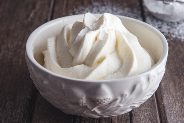 mascarpone cream in a white bowl