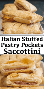 These savory Stuffed Puff Pastry Pockets also known as Fagottini or Saccottini are filled the perfect Italian Filling, prosciutto, mozzarella and thinly sliced potato slices. #puffpastry #puffpastrypockets #savoryappetizer #appetizer #savoryrecipe #savorypockets