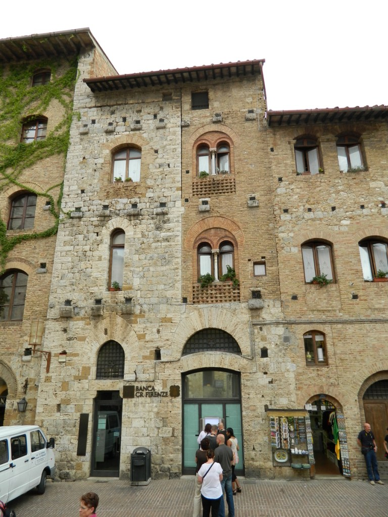 Hotels, banks and homes, Piazza Cisterna, San Gimignano