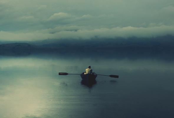 alone on a lake