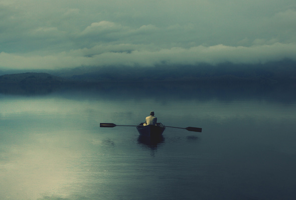 alone on a lake