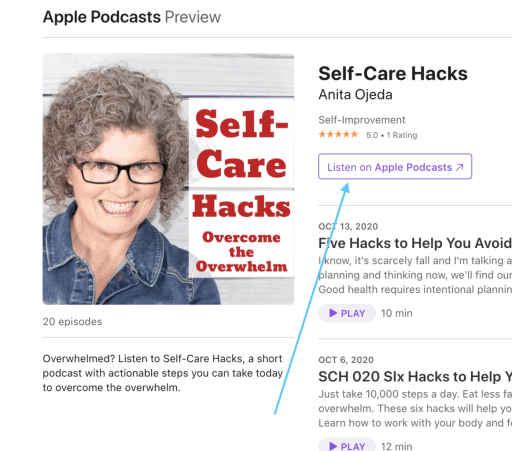 Step-by-step instructions on how to leave a review for the Self-Care Hacks podcast on Apple iTunes. #podcast #review