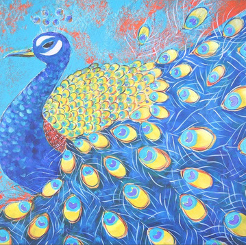 detail of peacock art