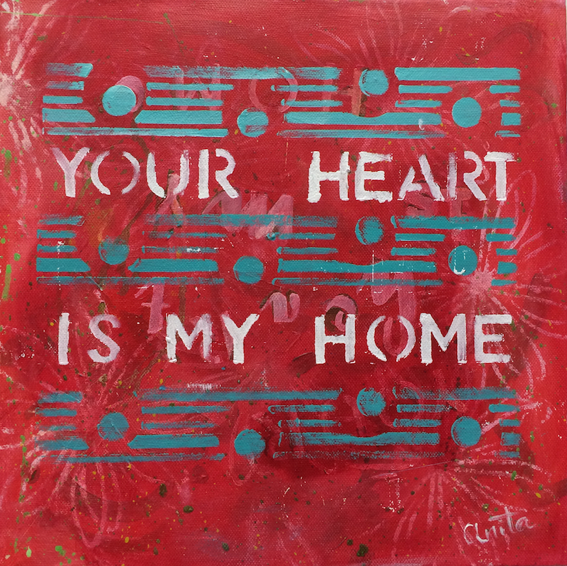 your heart is my home original art workshop
