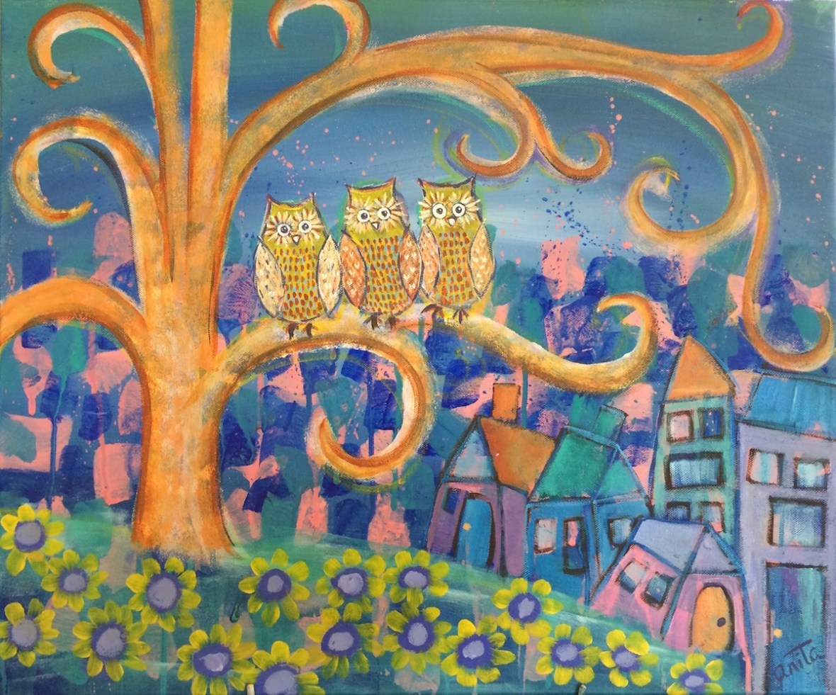 owls in a tree sleepy town interpretive art