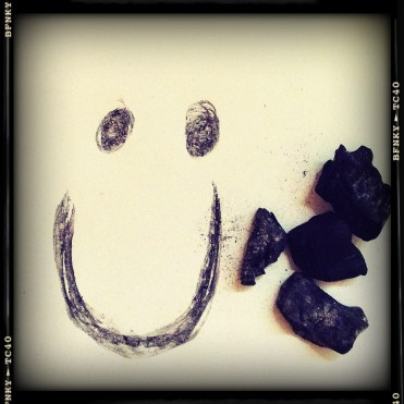 Smile Again: Day 2 Homemade Charcoal on Plain Ppaer