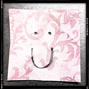 Smile Again: Day 24 Charcoal on Origami Paper