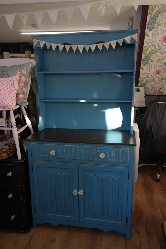 Vintage Shabby Chic Welsh Dresser Oak Blue