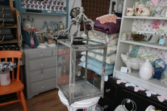 Square Metal & Glass Shabby Chateau Candle Holder