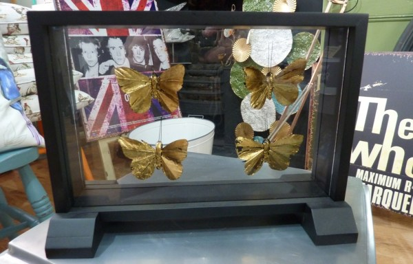 Gold Wood And Metal Butterfly Display