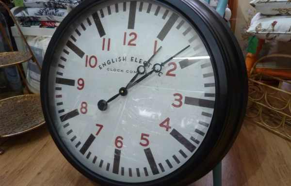"""Black English Electric reproduction wall clock 24"""" wide"""