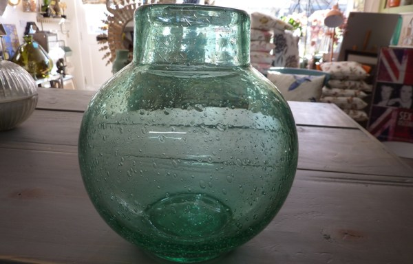 Green bubble recycled glass vase