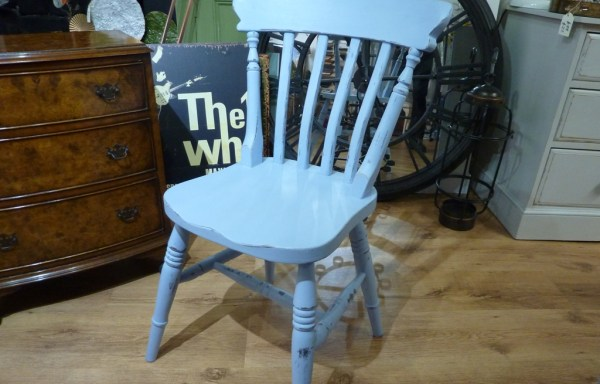 Pine stand chair blue chalk paint distressed