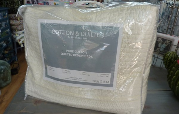 King Size Cream Stitched Quilted Bed Spread Reduced £110 To £76