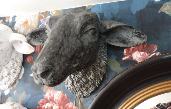 "Sheep Head Wall Decoration Black 10"" X 14"""