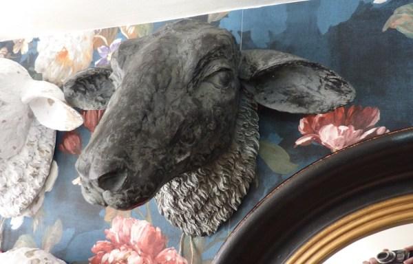 "Sheep Head Wall Decoration Black 10"" X 14"""