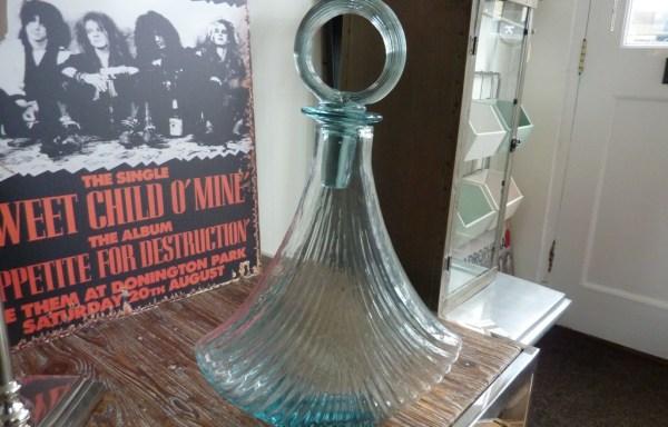 "Blue glass deco bottle 15"" tall £35"