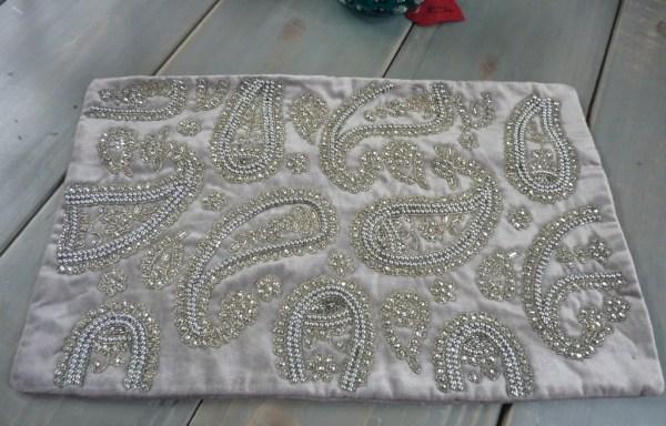 Grey beaded cushion cover £30