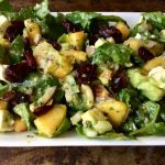 Spinach and Peach Salad with Pesto Dressing
