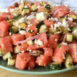Watermelon Salad with Cucumber, Feta and Pistachios