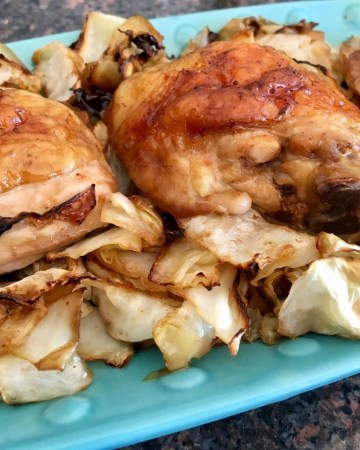 Sheet Pan roast Chicken with Cabbage