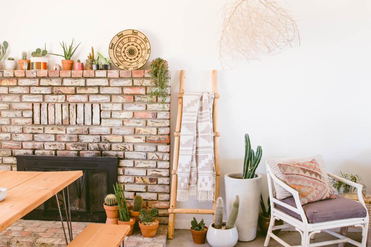 desert home fireplace wooden ladder throw blanket