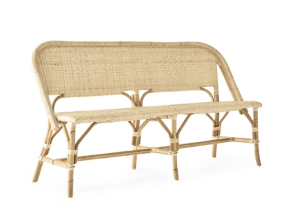 serena and lily rattan bench summer patio