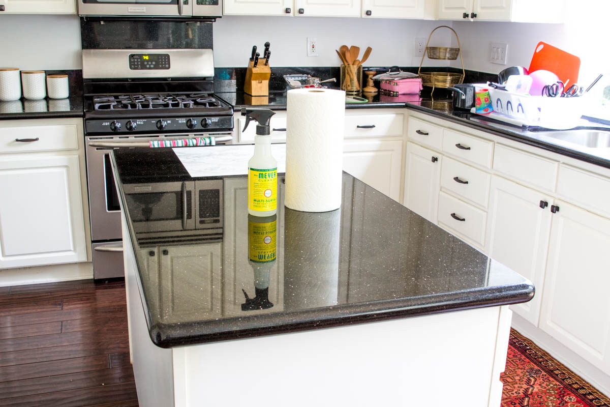 black granite countertops kitchen white cabinets