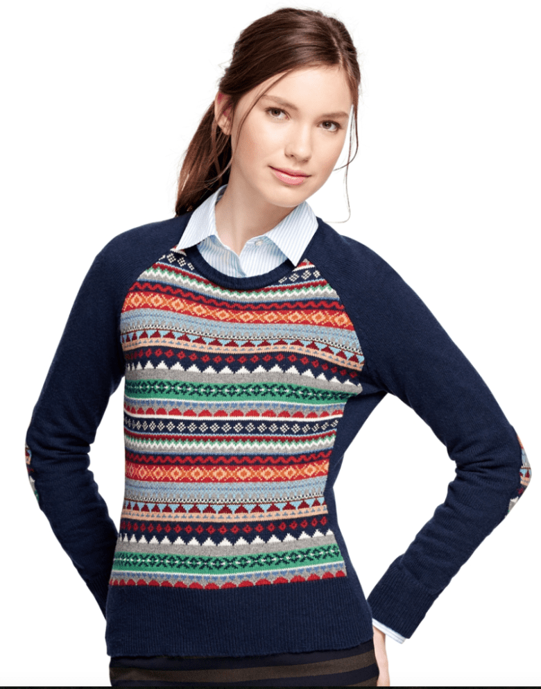 brooks brothers fair isle sweater women