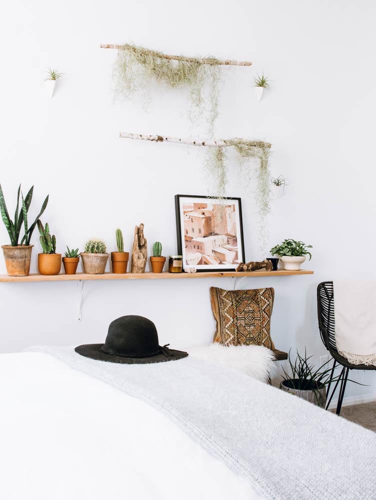 DIY branch wall desert cacti spanish moss morrocan art wall planters boho eclectic decor