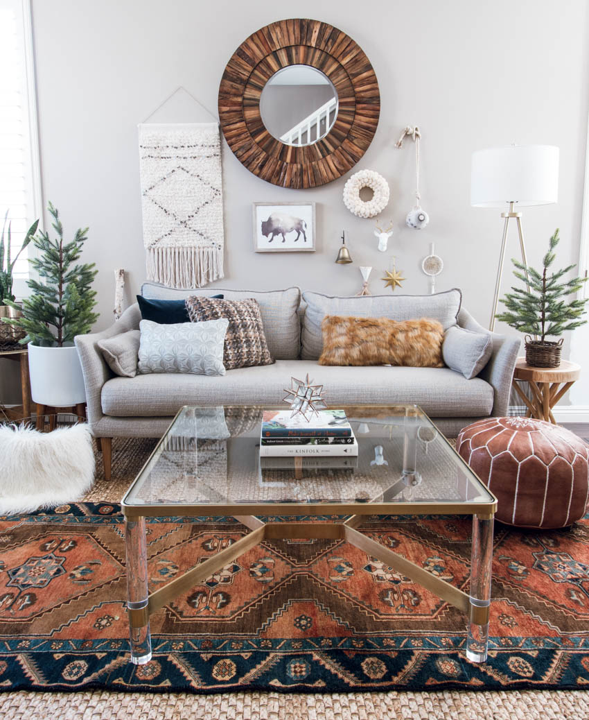 eclectic boho modern home decor west elm sofa mid century gallery wall anthropologie lucite coffee table