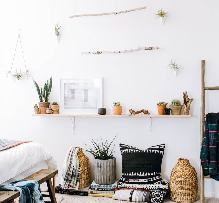 DIY branch wall $12 shelf cactus plants throw blanket ladder boho eclectic decor