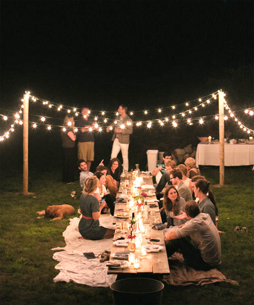 dreamy evening picnic twinkle lights outdoor dinner