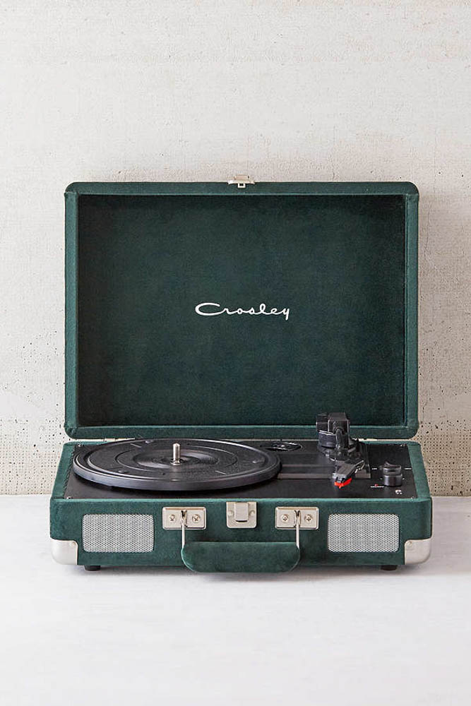 crosley green velvet record player