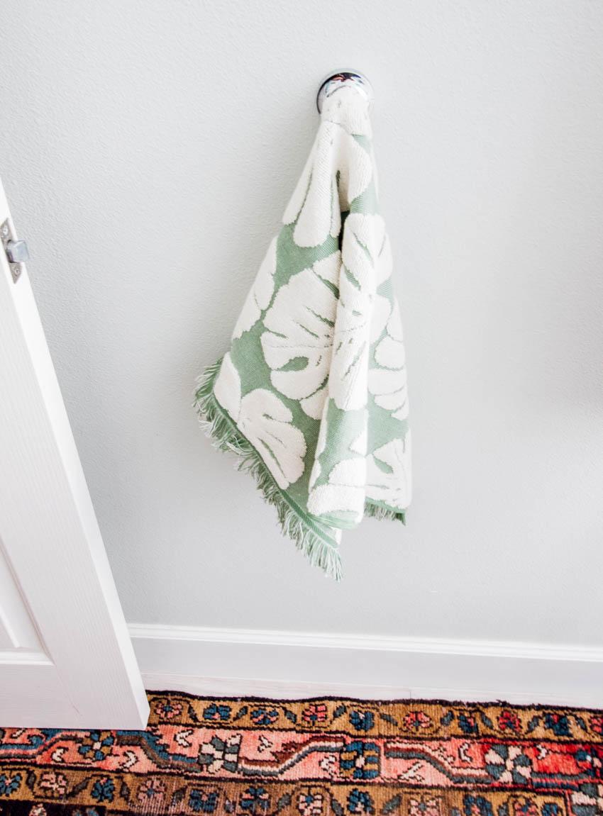 target plan towel green and white restoration hardware hook vintage rug