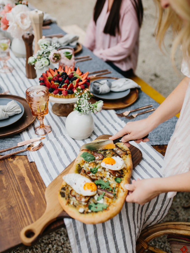 the effortless chic parachute home brunch table food