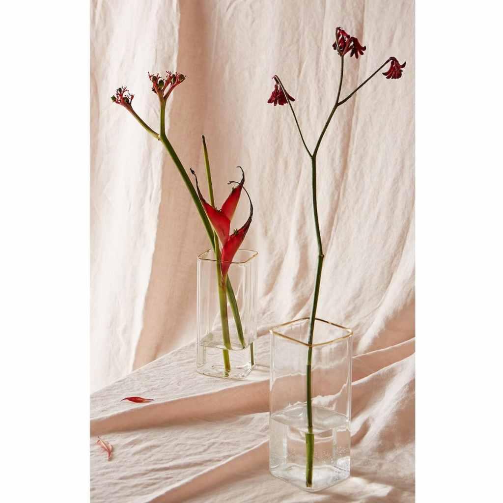 zara home gold rimmed rectangle vase