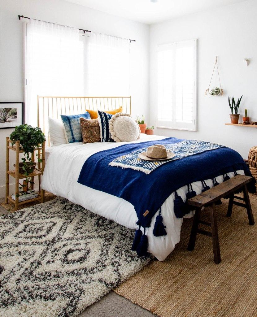 Scandinavian bohemian bedroom west elm bed