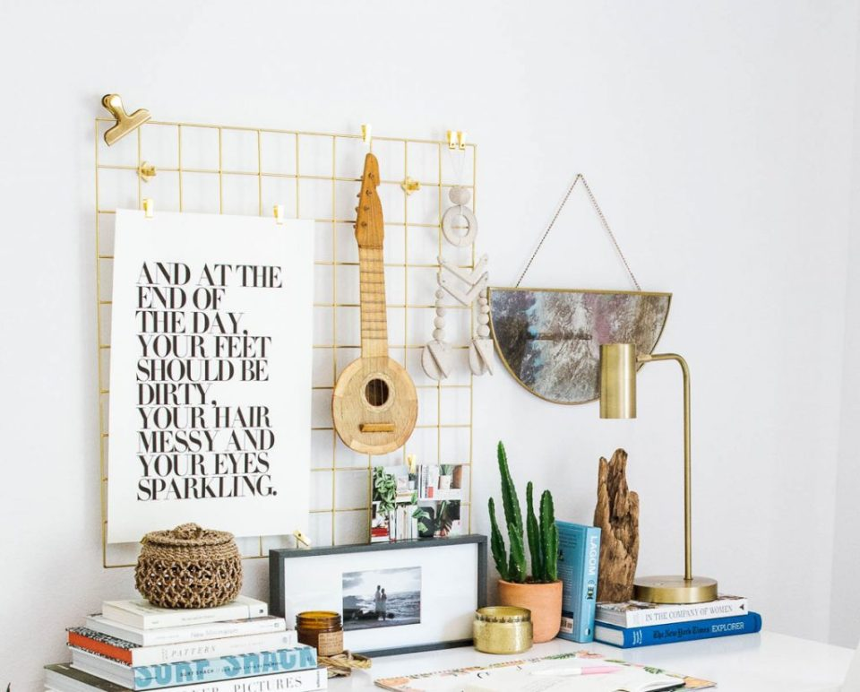 urban outfitters metal grid, ukulele, target brass lamp