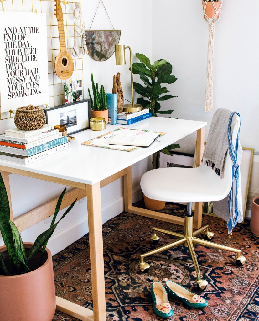 room and board moda desk, crate and kids desk chair, vintage rug, the sill