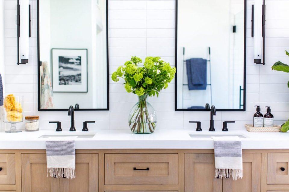 white oak vanity delta faucet black matte mirror
