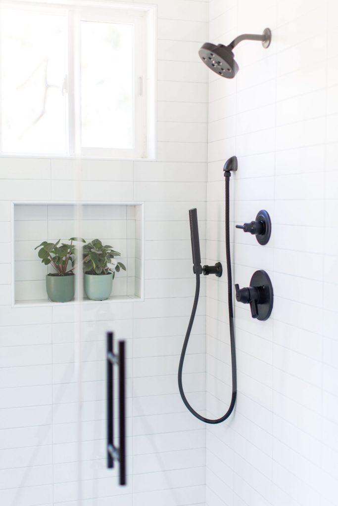 white shower delta black matte shower trim
