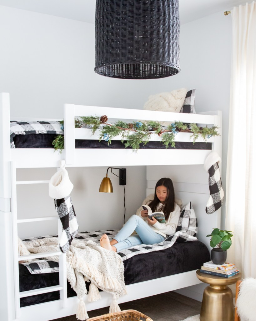 Walmart home decor black and white bedding Serena and lily black pendant California modern bedroom world market wall sconce