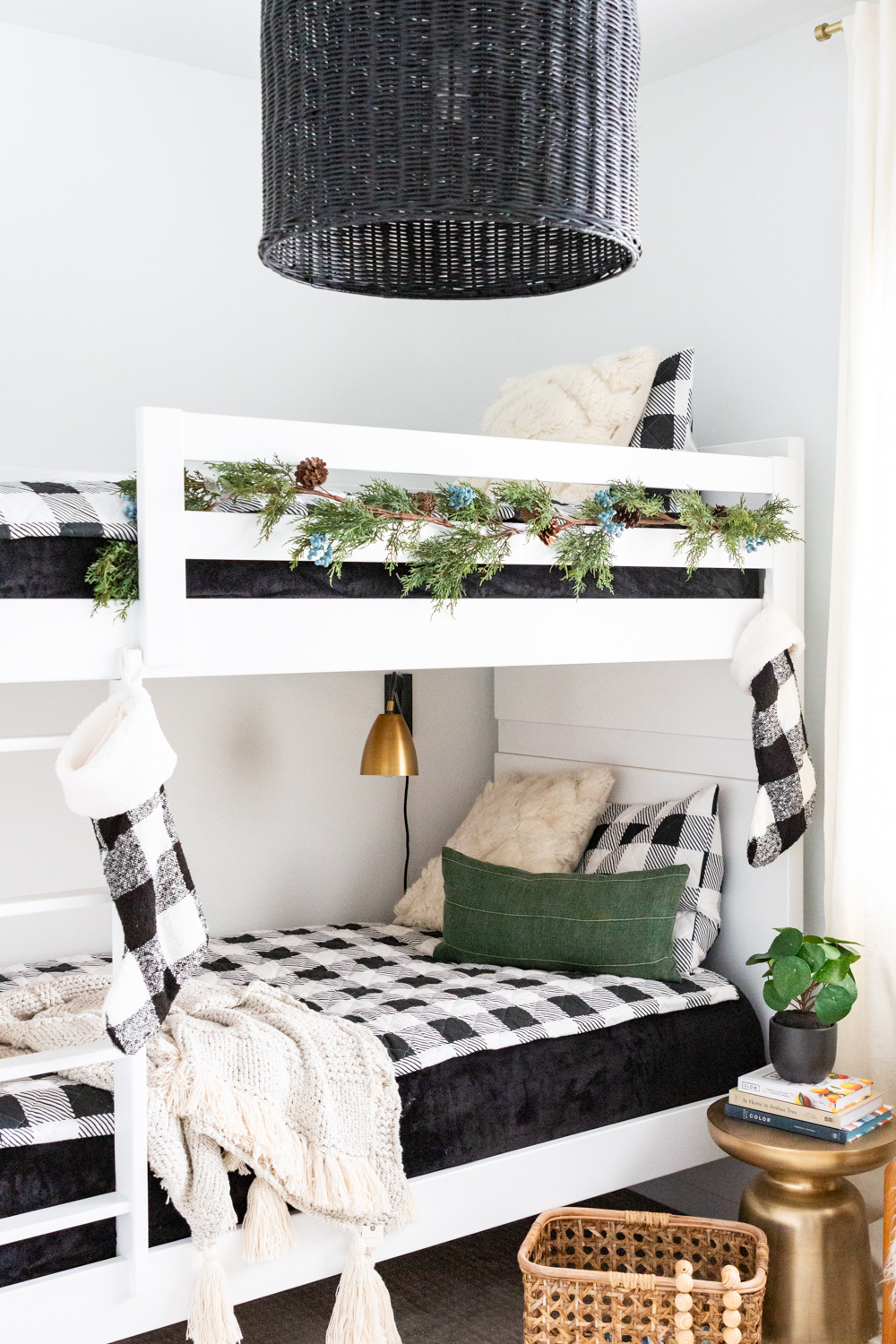 black and white buffalo plaid bedding bunk bed black pendant west elm brass table