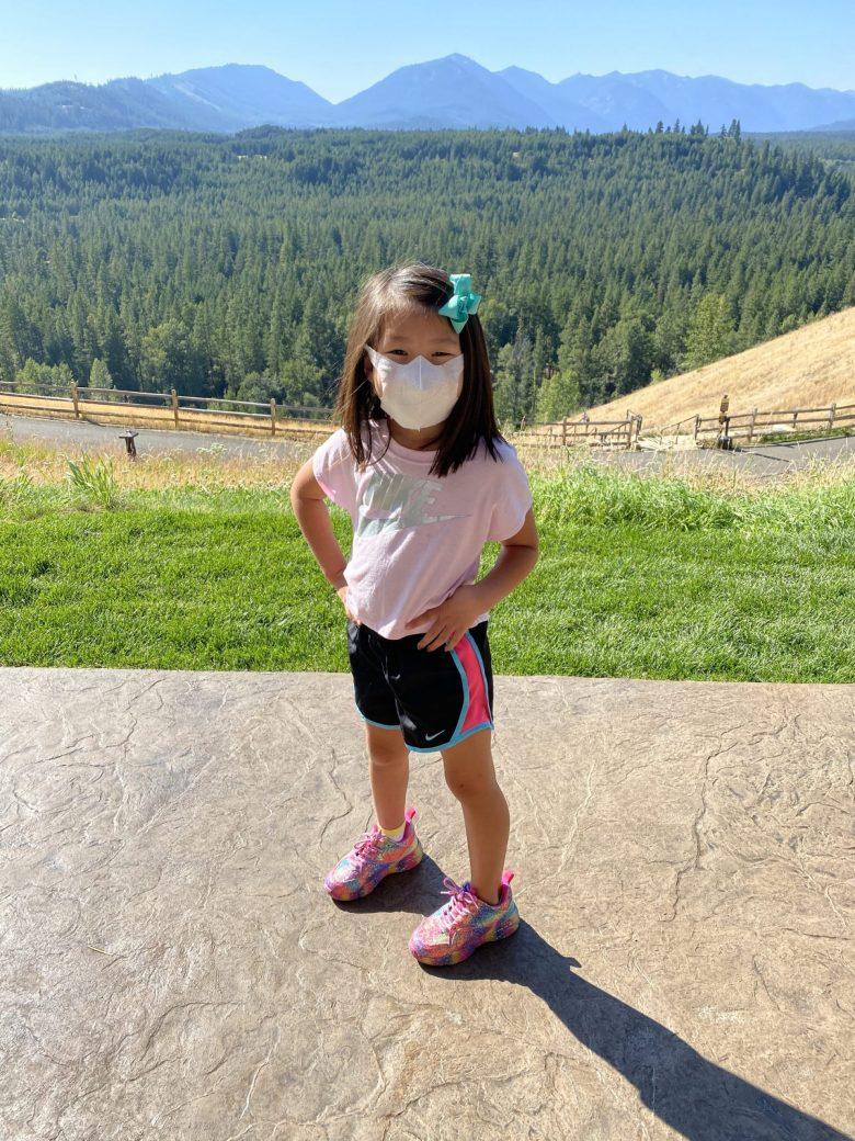 Our youngest Natalie in front of big PNW views
