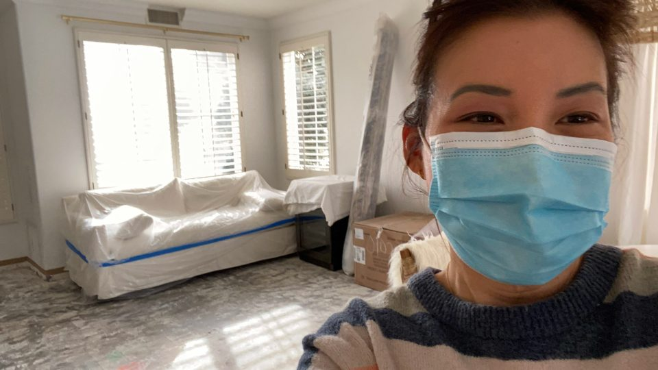 Anita in a facemask: It's a total demolition zone, but I'm so excited