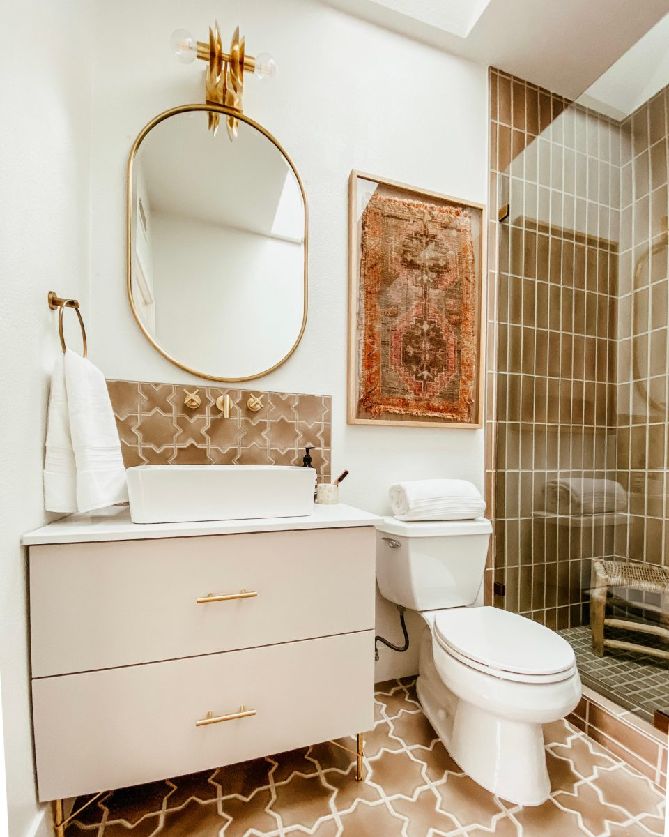Another view of the Desert Bathroom, this time showing off the finished vanity
