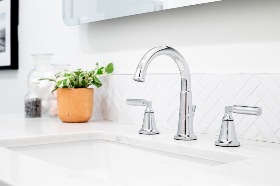 Delta's architectural Bowery faucet in chrome finish