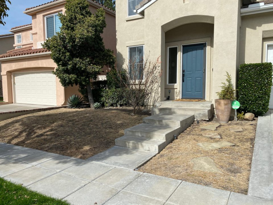 """A """"Before"""" photo of our clients dead grass. The house and yard are all a yellow-brown"""
